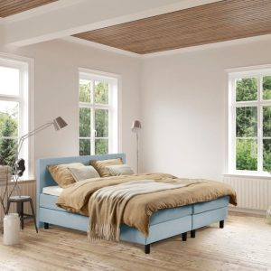 Beddenleeuw Boxspring Bed Isabella - 140x200 - Incl. Pocketmatras + Hoofdbord - Blauw