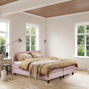 Beddenleeuw Boxspring Bed Isabella - 140x210 - Incl. Pocketmatras + Hoofdbord - Oud roze