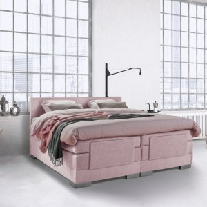 Beddenleeuw Boxspring Bed Julia - Elektrisch - 140x200 - Incl. Hoofdbord - Oud roze