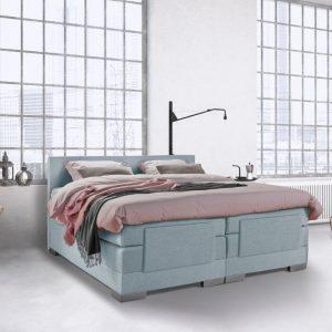 Beddenleeuw Boxspring Bed Julia - Elektrisch - 160x200 - Incl. Hoofdbord - Blauw