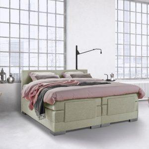 Beddenleeuw Boxspring Bed Julia - Elektrisch - 180x210 - Incl. Hoofdbord - Groen