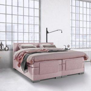 Beddenleeuw Boxspring Bed Julia - Elektrisch - 180x210 - Incl. Hoofdbord - Oud roze
