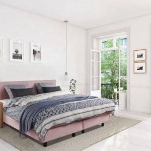 Beddenleeuw Boxspring Bed Mila - 140x200 - Incl. Pocketmatras + Hoofdbord - Oud roze