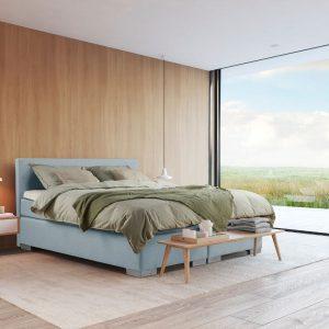 Beddenleeuw Boxspring Bed Sara - 140x210 - Incl. Pocketmatras + Hoofdbord - Blauw