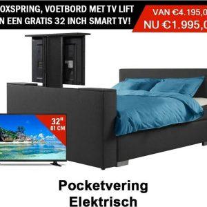 Boxspring Den Haag Elektrische vertelbaar Met voetbord tv lift en een gratis Tv Smart 180x200