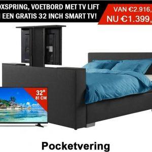 Boxspring Luxe compleet Antracite 180x200 Met Tv livt Voetbord GRATIS TV