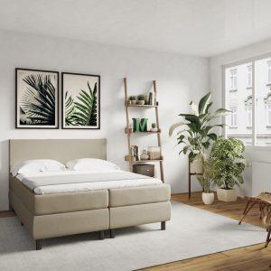 Boxspring Lyon Leatherlook - Inclusief 5-zones pocketveringmatras en koudschuimtopper - Cream - 180x200 cm