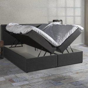 Boxspring SENTO - Boxspring met opbergruimte - Pocketvering - Luxe topper - Antraciet - 140x200 cm