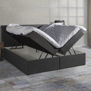 Boxspring SENTO - Boxspring met opbergruimte - Pocketvering - Luxe topper - Antraciet - 160x200 cm