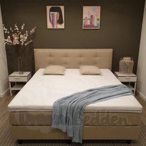 Boxspring 120x210 Miami Beige Incl. 7-zones Matrassen en Koudschuim Hotel Topper (STEVIG)