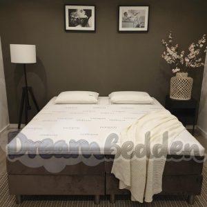 Boxspring 200x210 Alicante Incl. meegestoffeerde pocketvering matrassen en Bamboo Exclusive Koudschuim Topper. (zonder Hoofdbord)