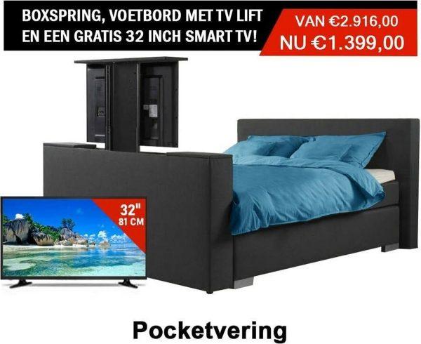 Boxspring Luxe compleet Antracite 200x210 Met Tv livt Voetbord GRATIS TV