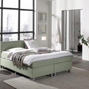 Complete Boxspring 120x210 cm - Groen - Pocketvering matrassen - Dreamhouse Louis - Twijfelaar - Extra hoge onderbox - 30 cm onderbox (67cm lighoogte)