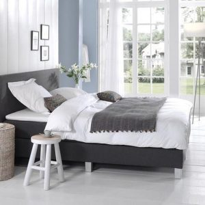 Complete Boxspring 180x210 cm - Antraciet - Pocketvering matrassen - Dreamhouse Louis - Twee persoons