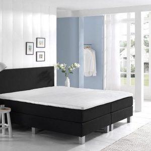 Complete Boxspring 90x200 cm - Kunstleer Zwart - Pocketvering matrassen - Dreamhouse Louis - Een persoons