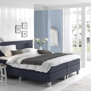Complete Boxspring 90x210 cm - Donkerblauw - Pocketvering matrassen - Dreamhouse Louis - Een persoons