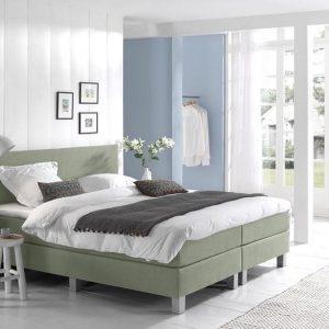 Complete Boxspring 90x210 cm - Groen - Pocketvering matrassen - Dreamhouse Louis - Een persoons
