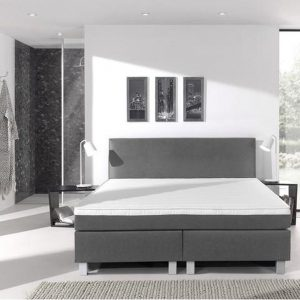Complete boxspring- 80x200 cm - bed - Grijs - Dreamhouse Eddy - 1 groot matras