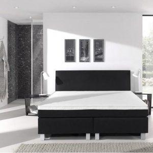 Complete boxspring- 90x210 cm - bed - Zwart - Dreamhouse Eddy - 1 groot matras