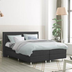 DreamHouse Bedding LEEGVERKOOP - Boxspringset Detroit 160 x 200, Kleur: Antraciet, Montage: Incl. montage