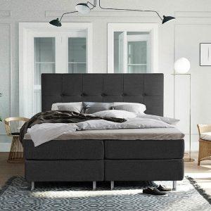 DreamHouse Bedding LEEGVERKOOP - Boxspringset Oregon 160 x 200 cm, Kleur: Grijs, Topperkeuze: Standaard Comfort Topper, Montage: Inclusief Montage