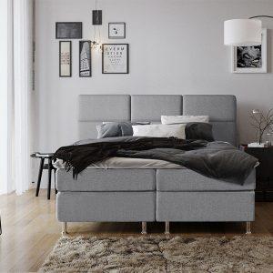DreamHouse Bedding LEEGVERKOOP Boxspringset Texas 160 x 200 cm, Kleur: Grijs, Topperkeuze: Standaard Comfort Topper, Montage: Inclusief Montage