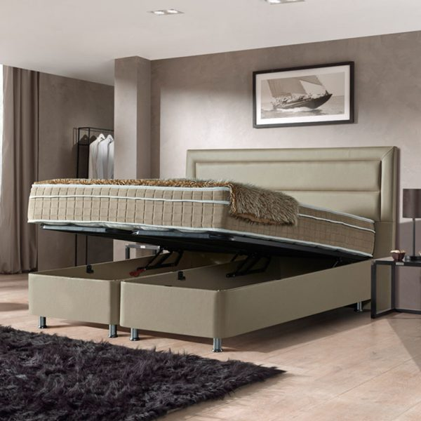 Opbergboxspring Saint Tropez 160 x 200 cm, Kleur: Taupe, Topperkeuze: Upgrade: Luxe Traagschuim Topper (+€200), Montage: Inclusief Montage