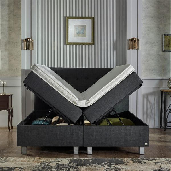 Pocketveren Boxspring Met Opbergruimte - Home Storage 160 x 200 cm, Topperkeuze: Standaard Comfort Topper, Montage: Exclusief Montage, Accessoire: Exclusief Nachtkast