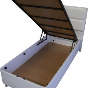 1persoons Boxspring met opbergruimte - Compleet 1persoons Boxspring 90x200 inclusief Koudschuim HR45 matras wit