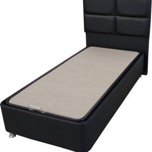 1persoons Boxspring met opbergruimte - Compleet 1persoons Boxspring 90x200 inclusief Pocketvering matras zwart