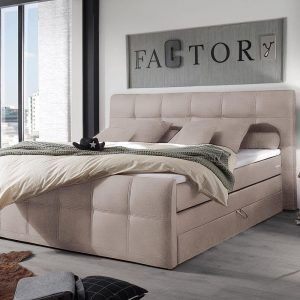 Bed Sebastiano beige 180x200 Matras Topper veerkern boxspring bed