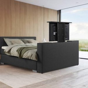 Beddenleeuw Boxspring Bed Mila met TV-Lift & 43' SMART TV - 140x200- Antraciet
