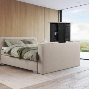 Beddenleeuw Boxspring Bed Mila met TV-Lift & 43' SMART TV - 140x200- Ecru