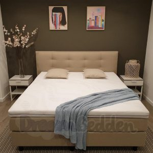 Boxspring 140x220 Miami Beige Incl. 7-zones Matrassen en Koudschuim Hotel Topper (STEVIG)
