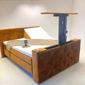 Boxspring Amsterdam 160x220 Elektrische verstelbaar Met Tv lift !! Kleur Cognac