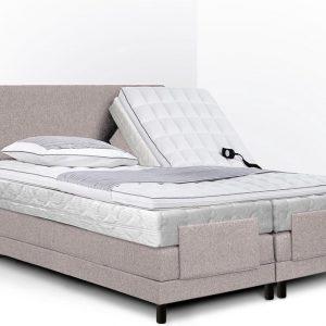 Boxspring Bella compleet, merk Olympic Life®, elektrisch verstelbaar, 140 x 200 cm, beige, 2x pocketvering matras met dubbeldoek matrastijk