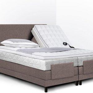 Boxspring Bella compleet, merk Olympic Life®, elektrisch verstelbaar, 140 x 200 cm, licht bruin, 2x pocketvering matras met dubbeldoek matrastijk