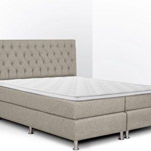 Boxspring Bonita compleet, merk Olympic Life®, 140 x 210 cm, beige, 18-delig met gecapitonneerd knopen motief hoofdbord