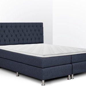 Boxspring Bonita compleet, merk Olympic Life®, 140 x 210 cm, blauw, 18-delig met gecapitonneerd knopen motief hoofdbord