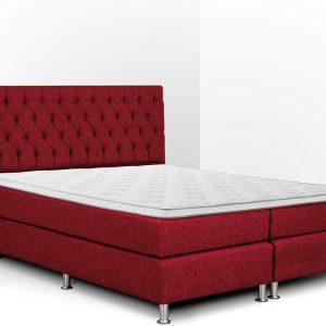 Boxspring Bonita compleet, merk Olympic Life®, 140 x 210 cm, bordeaux, 18-delig met gecapitonneerd knopen motief hoofdbord