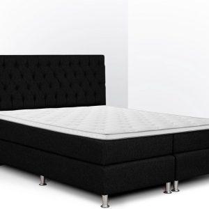 Boxspring Bonita compleet, merk Olympic Life®, 140 x 210 cm, zwart, 18-delig met gecapitonneerd knopen motief hoofdbord