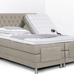Boxspring Bonita compleet, merk Olympic Life®, elektrisch verstelbaar, 140 x 200 cm, beige, 18-delig met gecapitonneerd knopen motief hoofdbord