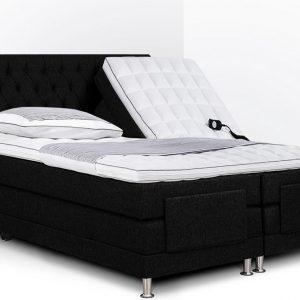 Boxspring Bonita compleet, merk Olympic Life®, elektrisch verstelbaar, 140 x 200 cm, bordeaux, 18-delig met gecapitonneerd knopen motief hoofdbord