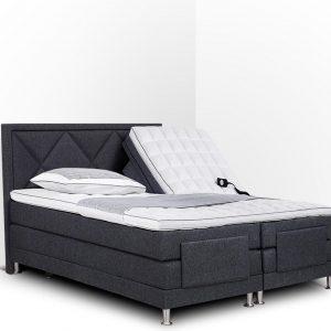 Boxspring Bonita compleet, merk Olympic Life®, elektrisch verstelbaar, 140 x 200 cm, grijs, 18-delig met gecapitonneerd knopen motief hoofdbord