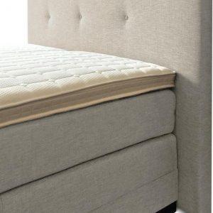 Boxspring Brava compleet, merk Olympic Life®, 140 x 210 cm, beige, 14-delig, breed hoofdbord met 3 gecapitonneerde knopen motief