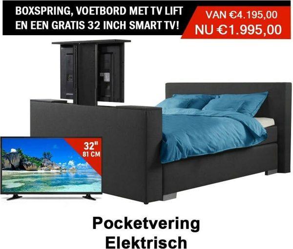 Boxspring Den Haag Elektrische vertelbaar Met voetbord tv lift en een gratis Tv Smart 160x220