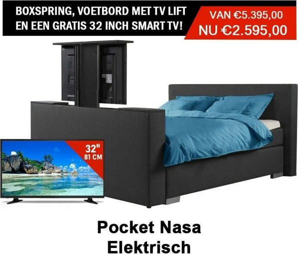 Boxspring Deventer Elektrische vertelbaar Met voetbord tv lift en een gratis Tv Smart 160x220