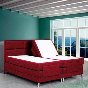 Boxspring Face compleet, merk Olympic Life®, elektrisch verstelbaar, 140 x 200 cm, bordeaux, 18-delig met vierkanten motieven hoofdbord