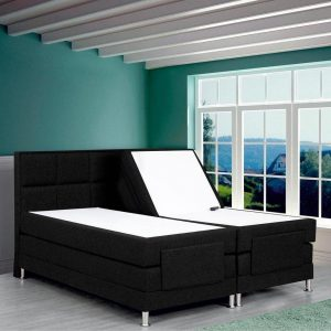 Boxspring Face compleet, merk Olympic Life®, elektrisch verstelbaar, 140 x 210 cm, zwart, 18-delig met vierkanten motieven hoofdbord