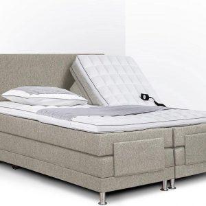 Boxspring Flanny compleet, merk Olympic Life®, elektrisch verstelbaar, 140 x 210 cm, beige, 18-delig